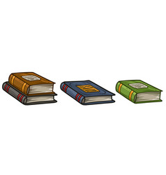 Cartoon old colorful book icon set vector