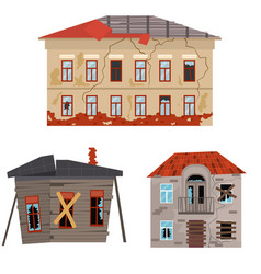 cartoon old houses set vector image