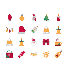 celebration decoration happy christmas icons vector image