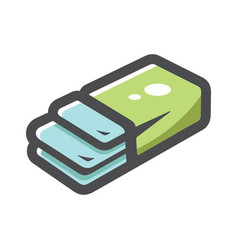 Chewing gum green package icon cartoon vector