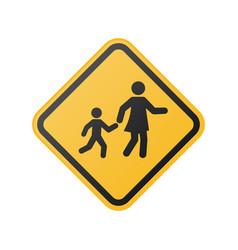 Children crossing sign school area vector