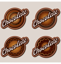 Chocolate labels design templates set vector image