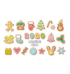 christmas gingerbread cookies set 2020 new year vector image