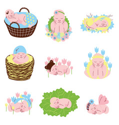 Collection adorable sleeping newborn babies vector