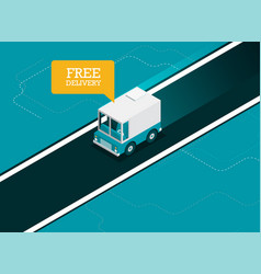 concept of delivery truck icon flat design vector image