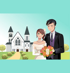 Couple getting married vector