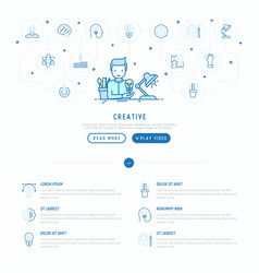 Creator generates idea with thin line icons vector