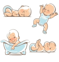 Cute babies in blue clothes vector