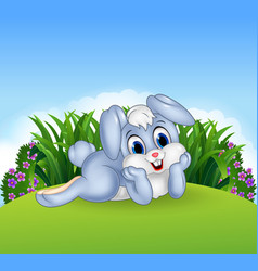 Cute bunny lie down in the jungle vector image
