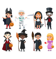 Cute halloween kids set cartoon vector