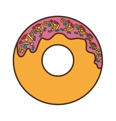 delicious sweet donut isolated icon vector image