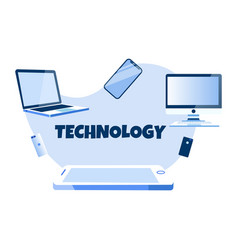 Digital technology and modern gadget advertisement vector