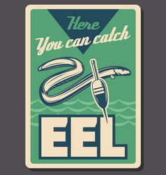 eel fish fishing and float vector image