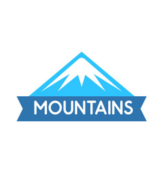 emblem of mountains in blue color logo for vector image