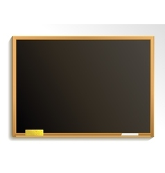 Empty blackboard with chalk and sponge vector image