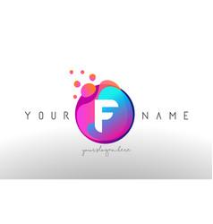 F dots letter logo with bubbles a letter design vector
