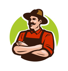 Farm agriculture logo or label happy farmer vector
