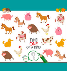 find one farm animal of a kind game vector image