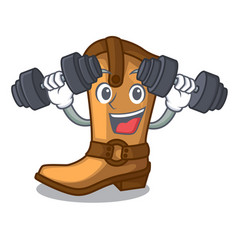 Fitness cowboy boots in the shape cartoon vector
