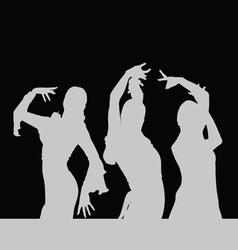flamenco dance girl silhouette on black vector image