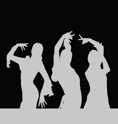 Flamenco dance girl silhouette on black vector