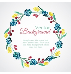 Floral watercolor wreath with flowers vector
