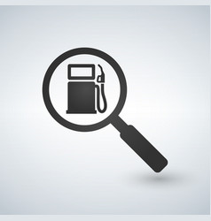 fueling or gas station in magnifying glass search vector image