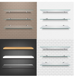 glasses shelves on light brick background set vector image