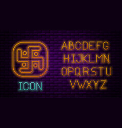 Glowing neon line jainism icon isolated on brick vector