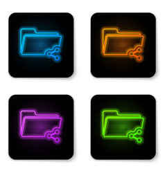 glowing neon share folder icon isolated on white vector image