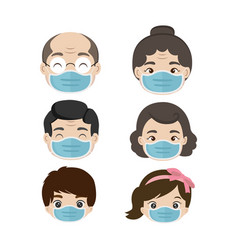 Group people wearing medical masks vector