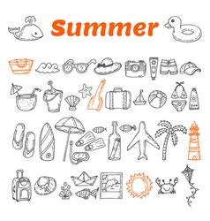 Hand drawn summer collection Beach theme doodle vector image