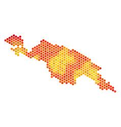 Hot hexagon new guinea countries map vector