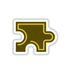In paper sticker style puzzle vector