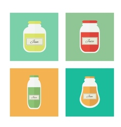 Jam and juice isolated flat icons vector