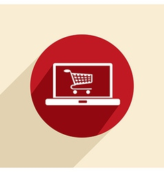 laptop with shopping cart vector image
