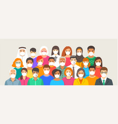 large group different people in medical masks vector image