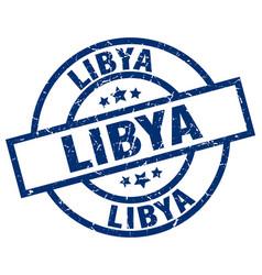 Libya blue round grunge stamp vector