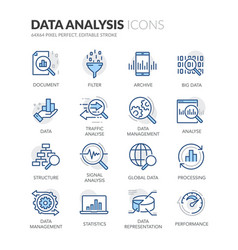 line data analysis icons vector image