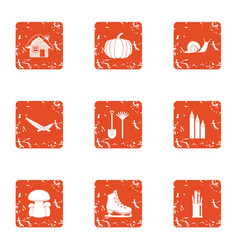 Living organism icons set grunge style vector