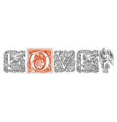 Love lettering ornate letters in vintage style vector
