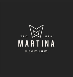 M letter mark mm hipster vintage logo icon vector