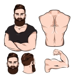 Male Body Parts For Tattoo Set vector