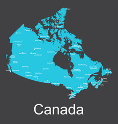 Map of canada with cities on a dark background vector
