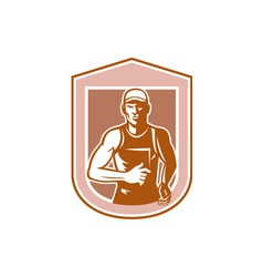 Marathon Runner Running Shield Retro vector image