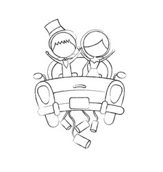 Married couple in car avatar characters vector