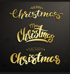 merry christmas inscription set gold lettering vector image