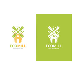 mill and leaf logo combination farm and vector image