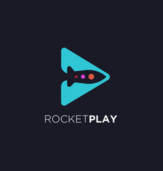 modern minimalist rocket play logo icon template vector image