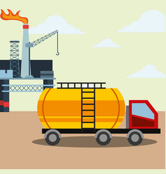 oil industry tanker truck refinery burning crane vector image
